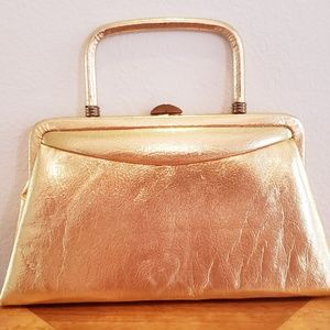 Garay gold vinyl handbag 1950's